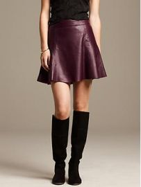 Burgundy leather skirt at Banana Republic