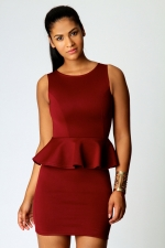 Burgundy peplum dress at Boohoo