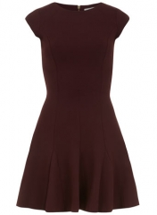 Burgundy pleat dress at Dorothy Perkins