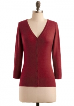 Burgundy rust colored cardigan at Modcloth