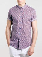 Burgundy tile print shirt at Topman