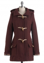 Burgundy toggle coat like Mouses at Modcloth
