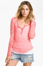 Burnout tee in neon pink damask by Free People at Nordstrom