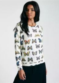 Butterfly Print Long Sleeve Brushed Knit Pullover by Wet Seal at Wetseal