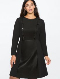 Button Detail Faux Leather Dress by Eloquii at Eloquii