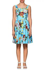 Button-Detail Floral Cotton Poplin Dress at Barneys