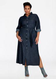 Button Front Denim Maxi Dress by Ashley Stewart at Ashley Stewart