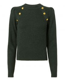 Button Puff Sleeve Sweater by Veronica Beard at Intermix