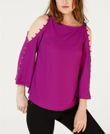 Button-Trim Cold-Shoulder Top by Trina Turk at Macys
