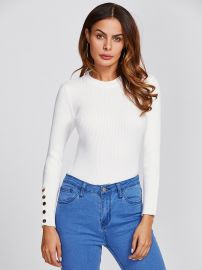 Button detail sweater at Shein