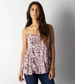 Button front ruffle tank at American Eagle