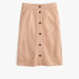 Button-front skirt in double-serge wool in acorn at J. Crew