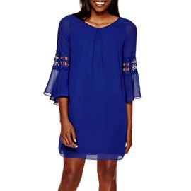 By and By Bell Sleeve Crochet inset Chiffon Shift Dress at JC Penney