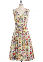 Bygone Days Dress in Sassy Comics at ModCloth at Modcloth
