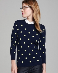 C by Bloomingdaleand039s Cashmere Polka Dot Pullover Sweater in Navy at Bloomingdales