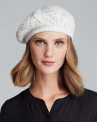 C by Bloomingdaleand039s Solid Pointelle Cashmere-Blend Beret in cream at Bloomingdales