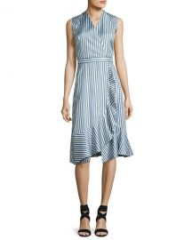 CARVEN SLEEVELESS STRIPED SILK SATIN DRESS, MULTICOLOR at Bergdorf Goodman
