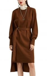 CASHMERE BELTED HIGH-LOW SWEATERDRESS at Barneys