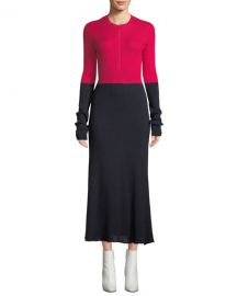 CEDRIC CHARLIER CREWNECK LONG-SLEEVE A-LINE COLORBLOCKED COTTON MIDI DRESS at Bergdorf Goodman