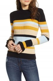 CODEXMODE Stripe Ruffle Cuff Sweater at Nordstrom