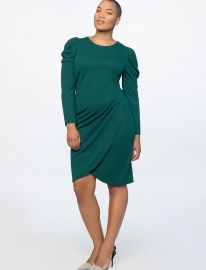 CREW NECK DRESS WITH DRAPED FRONT at Eloquii