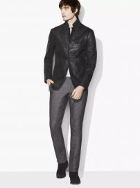 CRINKLE LEATHER BLAZER JACKET at John Varvatos