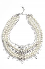 CRISTABELLE Crystal   Imitation Pearl Multistrand Necklace at Nordstrom