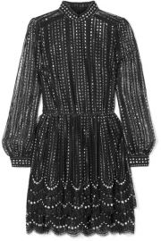 CRYSTAL-EMBELLISHED METALLIC LACE MINI DRESS at Net A Porter