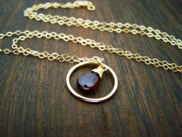 CYDesignStudio Garnet Gemstone Wire Wrapped Briolette Teardrop Necklace at Etsy