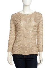 Cable Knit High Low Sweater at Last Call