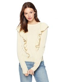 Cable Stitch Women s Ruffle Front Pullover Sweater at Amazon