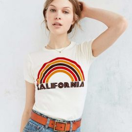 California Flocked Rainbow Tee at Urban Outfitters