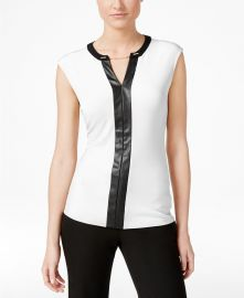 Calvin Klein Contrast-Trim Chain-Neck Top Women -  Tops - Macy s at Macys