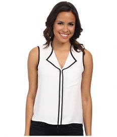 Calvin Klein Crepe De Chine Ruffle Front Blouse w Piping WhiteBlack at 6pm
