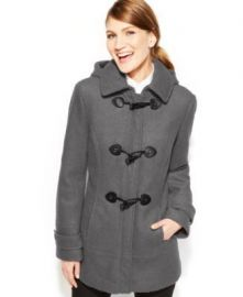 Calvin Klein Faux-Leather-Trim Toggle Wool-Blend Coat x at Macys