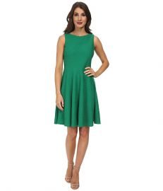 Calvin Klein Fit andamp Flare Dress w Back Cutout Grass at 6pm