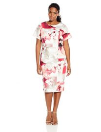 Calvin Klein Hibiscus Print Sheath Dress at Amazon