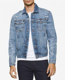 Calvin Klein Jeans Men s Destructed Sky Denim Trucker Jacket at Macys