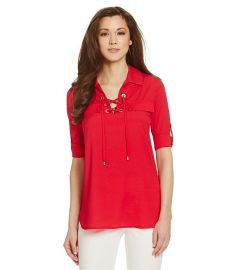 Calvin Klein Lace Up Blouse at Dillards