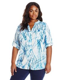 Calvin Klein Plus Size Roll-Tab Blouse in Twilight at Amazon