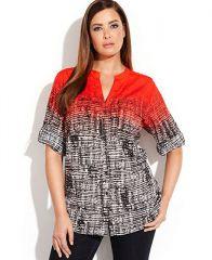 Calvin Klein Plus Size Tab-Sleeve Printed Shirt - Tops - Plus Sizes - Macys at Macys