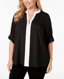 Calvin Klein Plus Size Zip-Front Blouse Plus Sizes -  Tops - Macy s at Macys