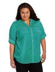 Calvin Klein Plus Zip Pocket Blouse in Jadeite at Amazon