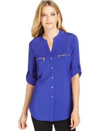 Calvin Klein Roll-Tab-Sleeve Zip-Pocket Blouse in Byzantine at Macys