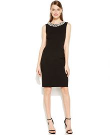 Calvin Klein Sleeveless Beaded Sheath Dress at Macys