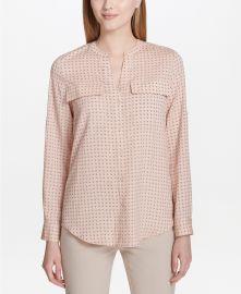 Calvin Klein Split-Neck Printed Top in Blush Dot at Macys
