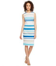 Calvin Klein Stripe Scuba Sheath Dress at Zappos