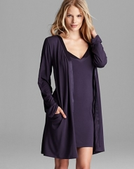 Calvin Klein Underwear Essentials V-Neck Chemise andamp Short Robe With Satin Trim at Bloomingdales
