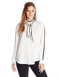 Calvin Klein Women s Long-Sleeve Blouse with Scarf at Amazon