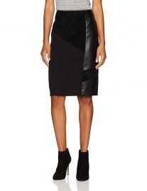 Calvin Klein Women s Pencil Skirt With Suede and PU at Amazon